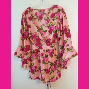 Betsey Johnson Bright Floral Tie Back Blouse XL